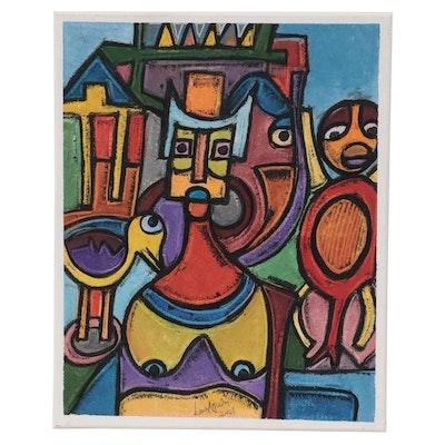 """Lanre Ayuba Acrylic Painting """"Woman,"""" 2021"""
