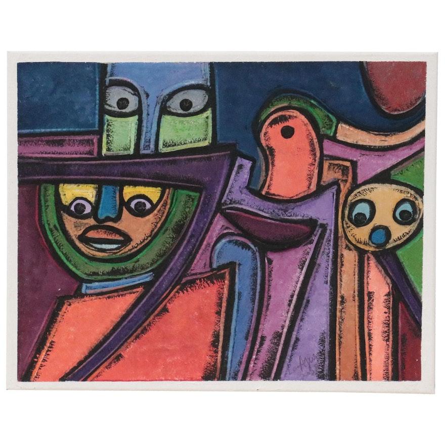 "Lanre Ayuba Acrylic Painting ""Modern Family,"" 2021"