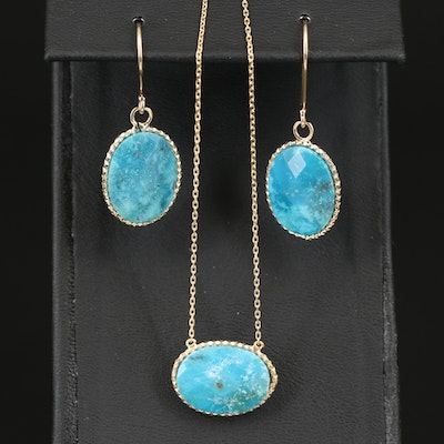 Sterling Silver Turquoise Drop Earrings and Necklace