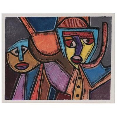"""Lanre Ayuba Acrylic Painting """"Be Encouraged,"""" 2021"""
