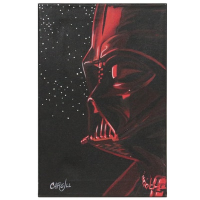 Chris Cargill Pop Art Acrylic Painting of Darth Vader, 21st Century