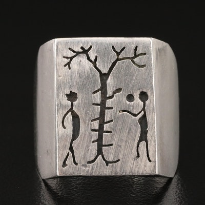 Sterling Adam and Eve Ring