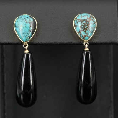 Sterling Silver Turquoise and Black Onyx Drop Earrings
