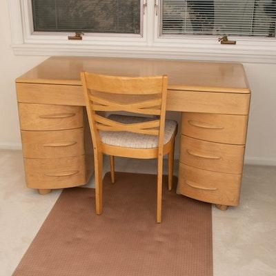 Heywood Wakefield Mid Century Modern Birch Kneehole Desk and Chair