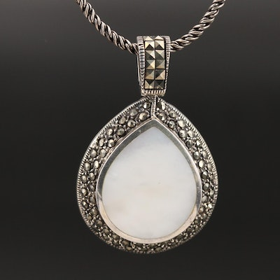 Sterling Mother of Pearl and Marcasite Teardrop Pendant Necklace