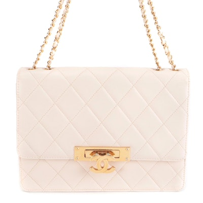 Chanel Golden Class Medium Flap Bag in Quilted Ivory Lambskin Leather