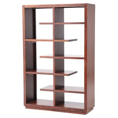 Modernist Style Walnut Bookcase Room Divider