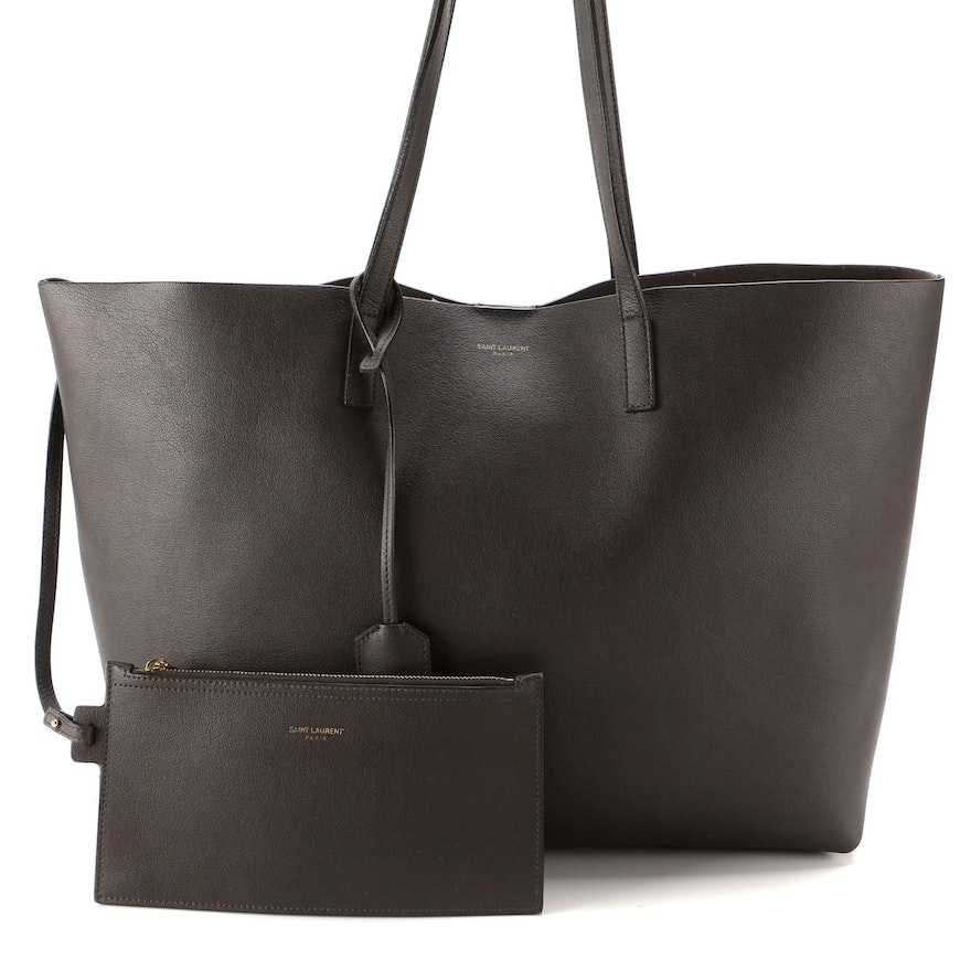 Yves Saint Laurent Large Shopper Tote in Storm Grey Leather