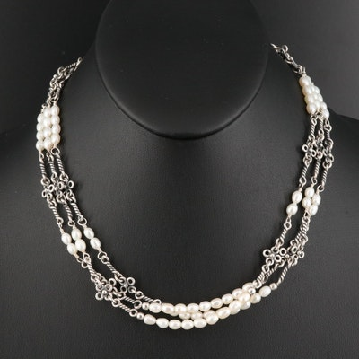 Silpada Sterling Silver Pearl Triple-Strand Necklace