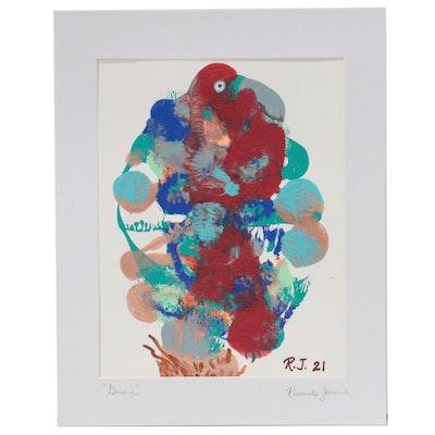 "Richard Jamil Acrylic Squish Painting ""Guara,"" 2021"