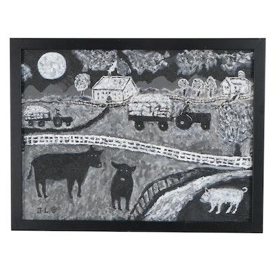 "J.T.G. Folk Art Style Acrylic Painting ""Harvest Moon,"" 2014"