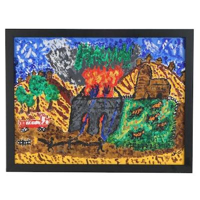 Folk Art Style Acrylic Painting of Burning House, 21st Century