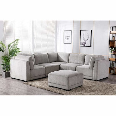 """""""Belize"""" Six-Piece Fabric Modular Sectional with Ottoman"""