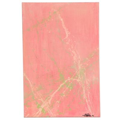 """J. Popolin Acrylic Painting """"Peach Marble,"""" 2021"""