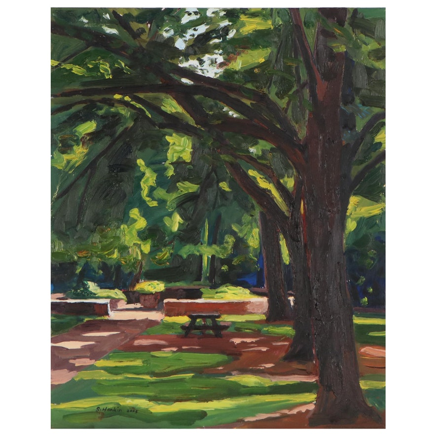 """Stephen Hankin Oil Painting """"Park Picnic Table in the Dappled Shade,"""" 2005"""