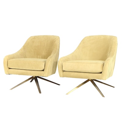 Pair of Roar & Rabbit for West Elm Modernist Style Pleated Swivel Chairs
