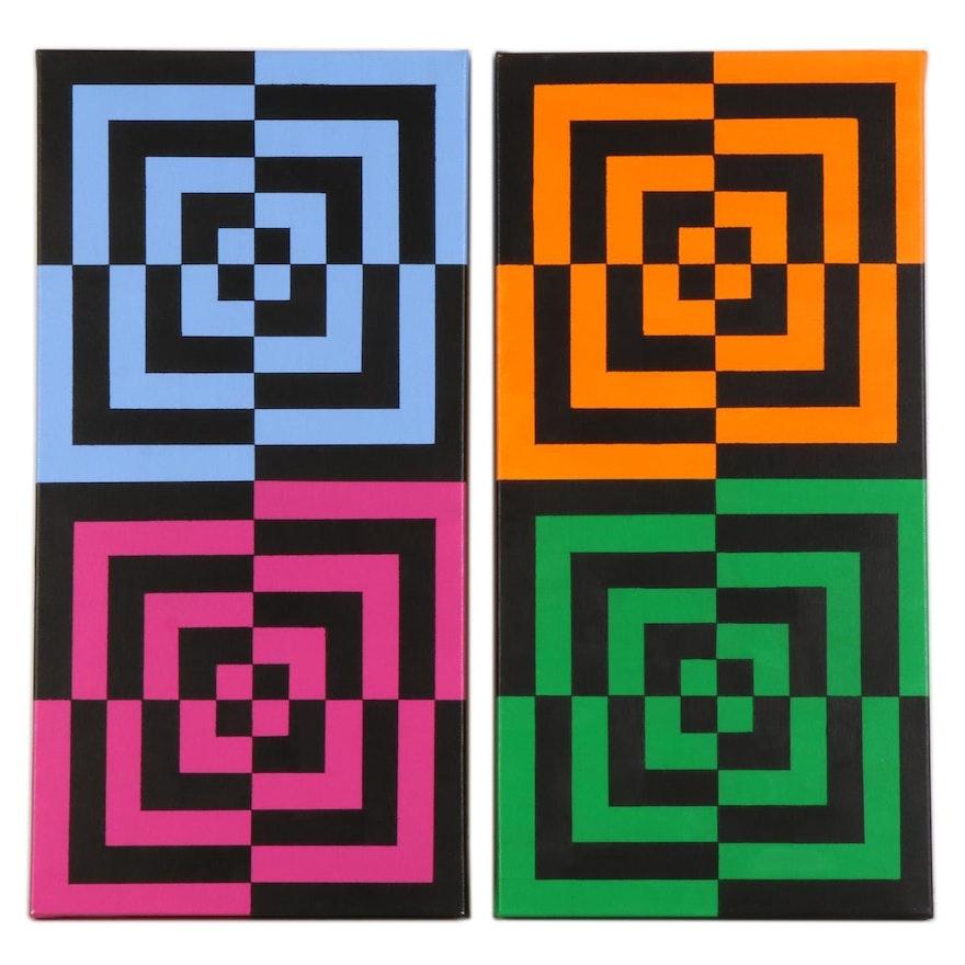 """deSanto Op Art Acrylic Painting Diptych """"Collide III,"""" 2021"""