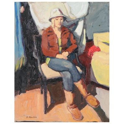 """Stephen Hankin Oil Painting """"Woman Seated, White Hat, Brown Boots"""""""
