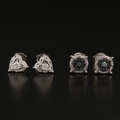 Sterling Silver Diamond Stud Earrings