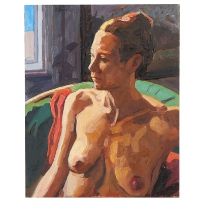 """Stephen Hankin Female Nude Oil Painting """"Model with Hair Pulled Up in a Bun"""""""