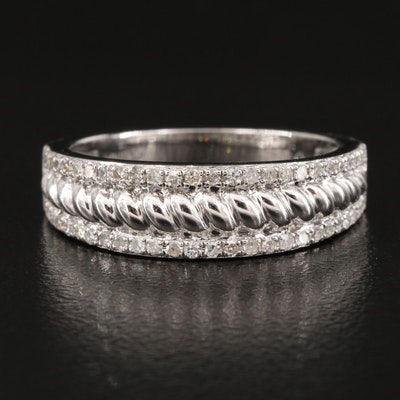 Sterling Diamond Double Row Ring