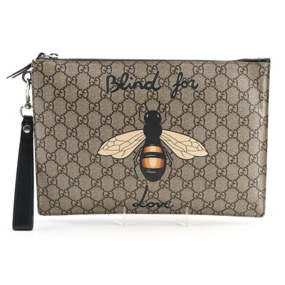 """Gucci Bestiary Pouch in Bee """"Blind For Love"""" Print GG Supreme Canvas"""