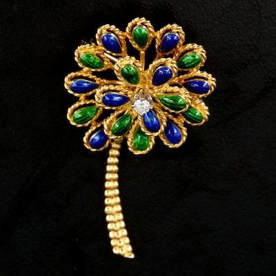 14K Diamond and Enamel Flower Brooch
