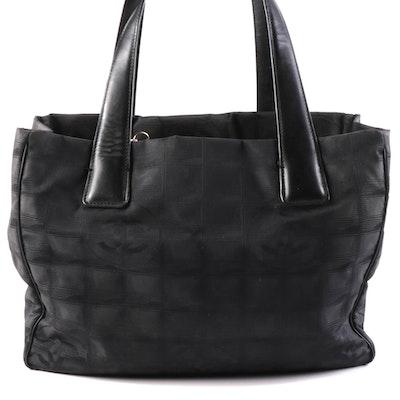 Chanel Travel Line Shoulder Bag in Black Nylon and Leather