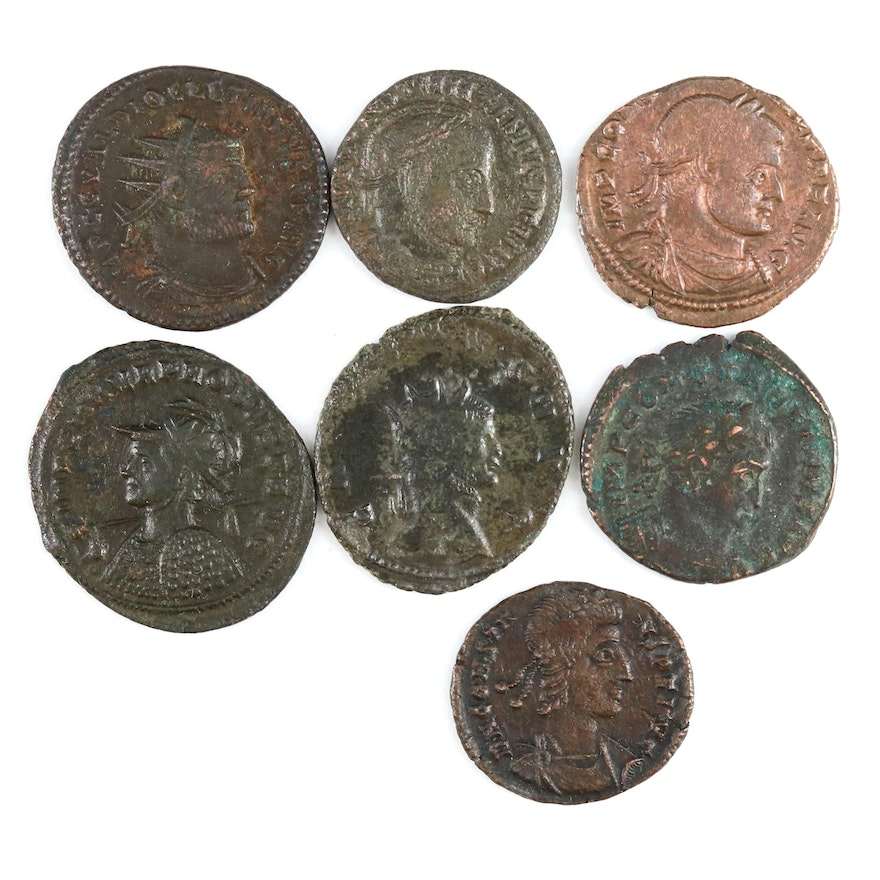 7 Ancient Imperial Roman Coins Including Diocletian, Probus, and Constantine I