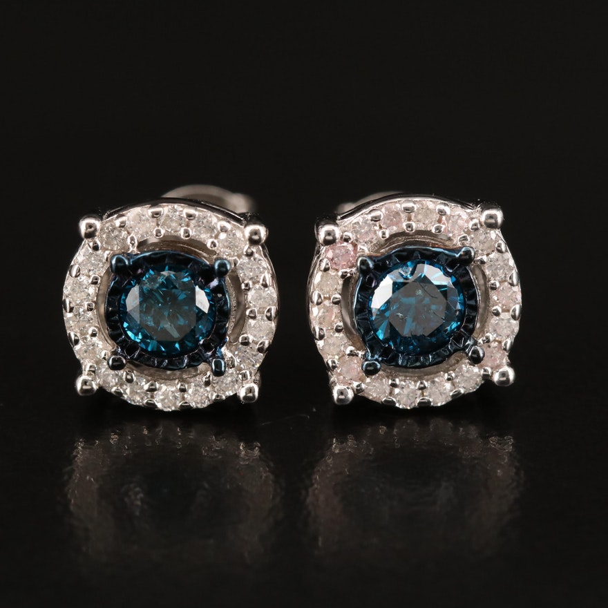 Sterling 1.00 CTW Diamond Stud Earrings