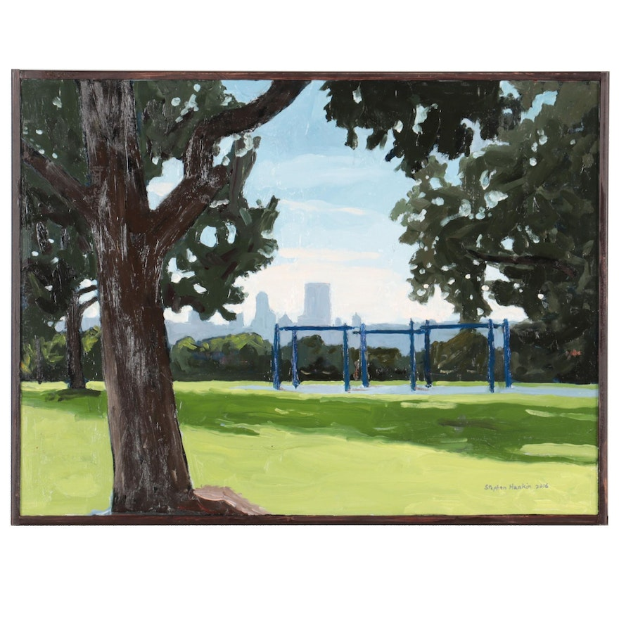 """Stephen Hankin Oil Painting """"Schenly Park Overlook With Swing Sets,"""" 2016"""