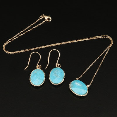 Sterling Silver Faceted Turquoise Necklace with Matching Earrings