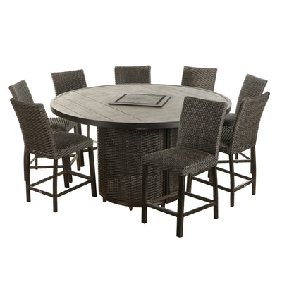 """Agio """"McKenzy"""" Resin Wicker Bar-Height Fire Pit Outdoor Dining Set"""