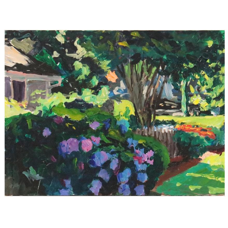 "Stephen Hankin Oil Painting ""Rehobeth Garden,"" 2018"