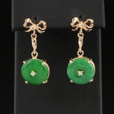 18K Jadeite and Diamond Ribbon Drop Earrings