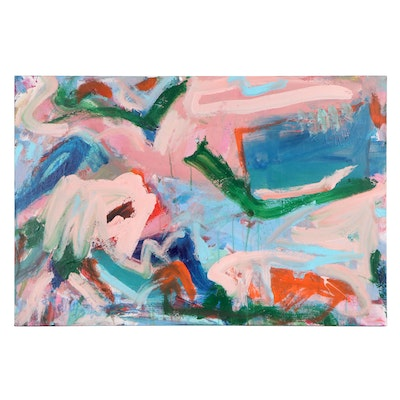 """Robbie Kemper Acrylic Painting """"Middle Green Angle"""""""