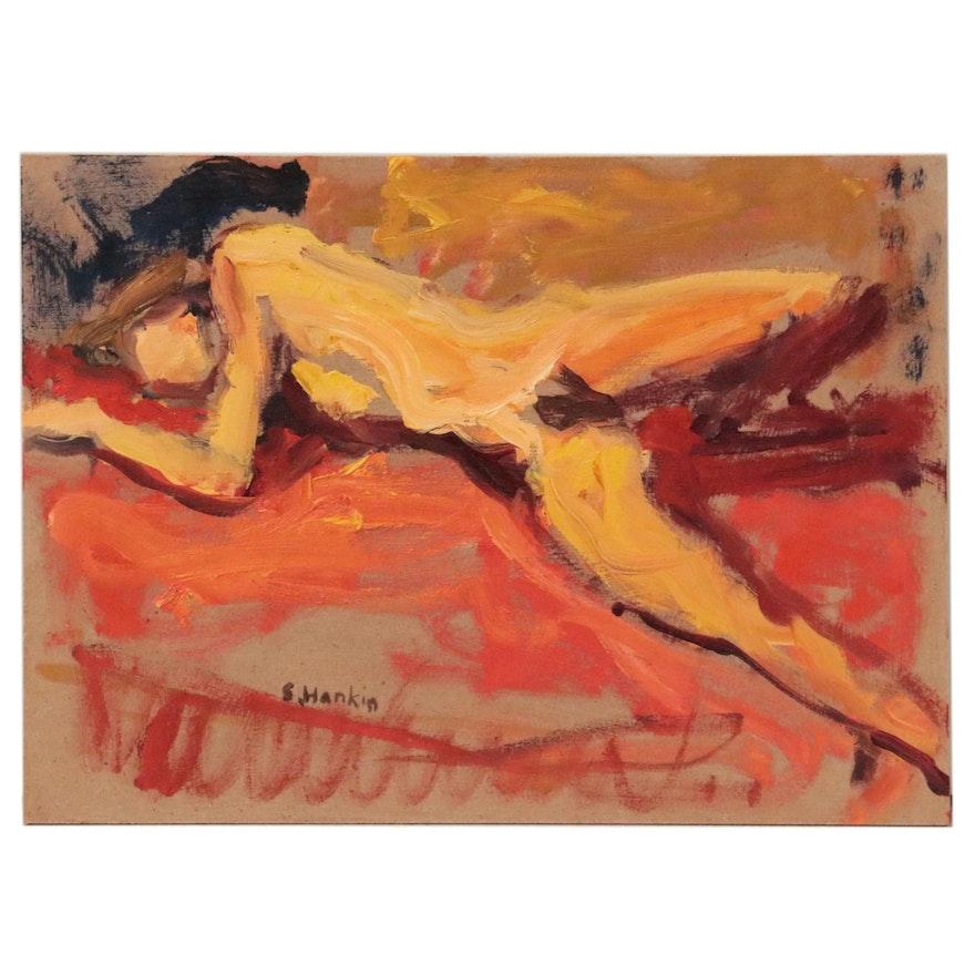 Stephen Hankin Oil Painting of Reclining Figure, 21st Century