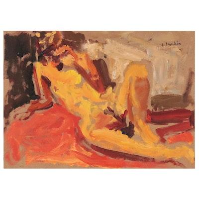 Stephen Hankin Oil Painting of Reclining Nude