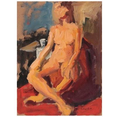 Stephen Hankin Oil Painting of Seated Nude