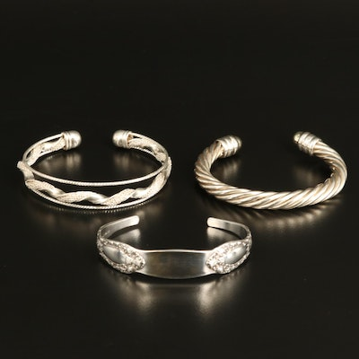 """Alvin """"Prince Eugene"""" Sterling Cuff with Twisted Cable and Openwork Cuffs"""