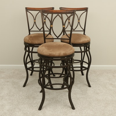 Three Camas y Muebles Iron and Wood Accented Swivel Seat Barstools