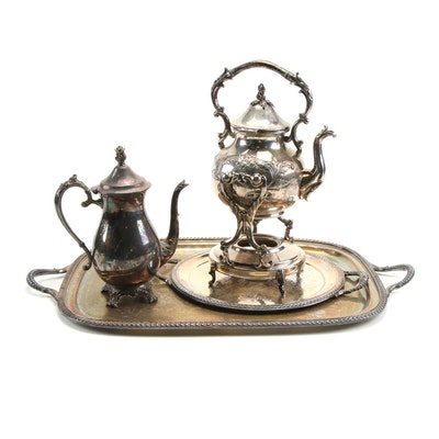 Hand-Chased Silver Plate Kettle and Stand with Other Serveware
