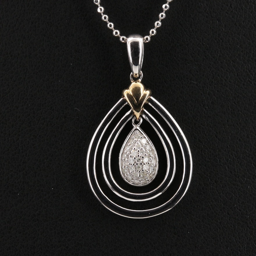 Sterling Silver Diamond Teardrop Pendant Necklace with 14K Accent