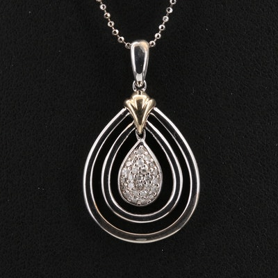 Sterling Silver Diamond Teardrop Necklace with 14K Accent