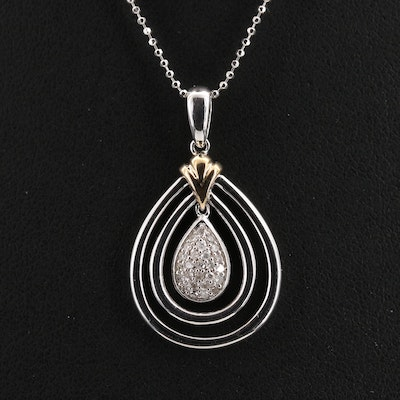 Sterling Diamond Teardrop Pendant Necklace with 14K Accent