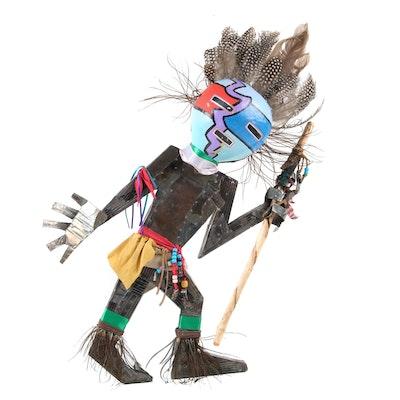 B. Garcia Artisan Hopi Warrior Metal Wood, Feather, Beaded Wall Decor Figural