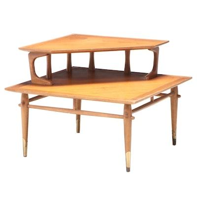 Lane Mid Century Modern Walnut Two-Tier Corner Table