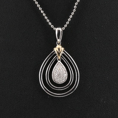 Sterling Silver Diamond Open Teardrop Pendant Necklace with 14K Accent