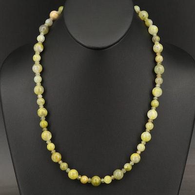 Calcite and Grossular Garnet Beaded Necklace