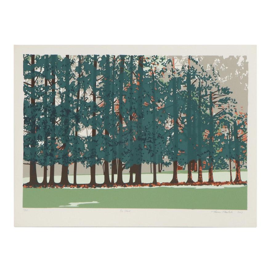 "Thomas Norulak Serigraph ""Pine Stand,"" 2007"